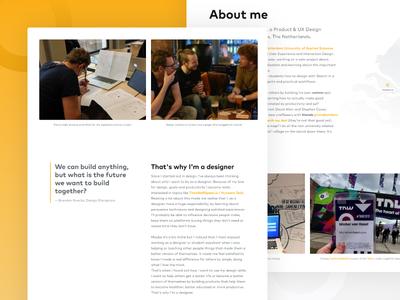 About page personal website web website ux design student product design portfolio designer portfolio onepager landingpage designer design