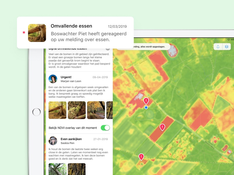 Vegetation Monitor - University project university ui design forester forest nature map notification ipad application ipad app ipad app design app