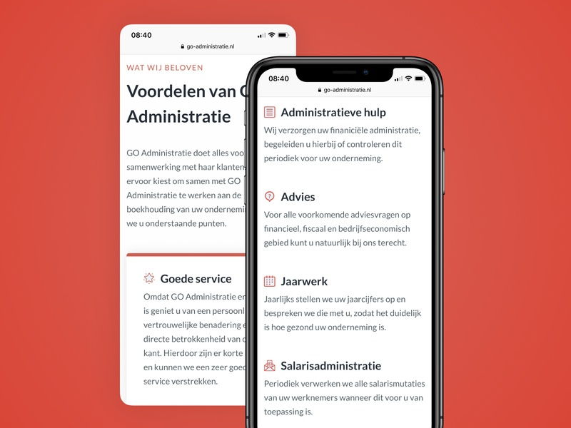 Mobile accountancy and administration office website orange white clean clean ui mobile web design mobile website mobile design financial business administration accountant accountancy