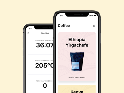 Coffee by Benjamin iOS application thermometer bag white clean ios roasting timer card cards coffee roasting coffee roaster coffee