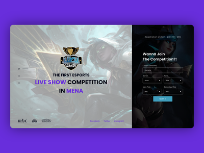 Gaming competition website button ui buttons cards boxes steps form partners sponsors slider website leagueoflegends league gaming website gaming