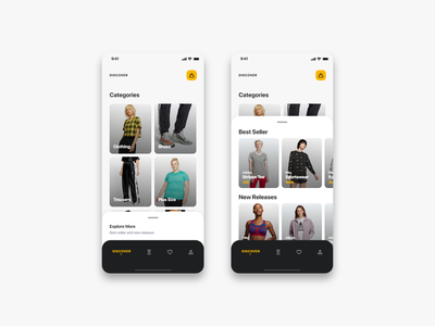 Fashiony - Home(Rebound) trend new best seller discover bottom nav bottom bar titles icons design cards categories modal boxes home mobile app mobile uiux ui