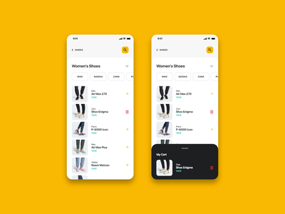Fashiony - Category mobile ecommerce ui shop my cart cart add to cart add delete boxes cards items filtring sorting sort filters button search shoes