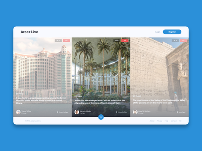 AreazLive - Home swipe disabled active views live register login product boxes cards buttons scroll website design website productdesign video live video