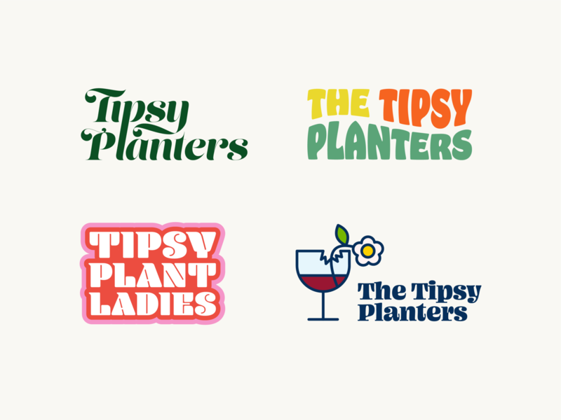 Tipsy Planters Logo Concepts Pt. 1 planters flowers plants illustration icon upscale groovy 2020 typogaphy concepts graphic design branding logo