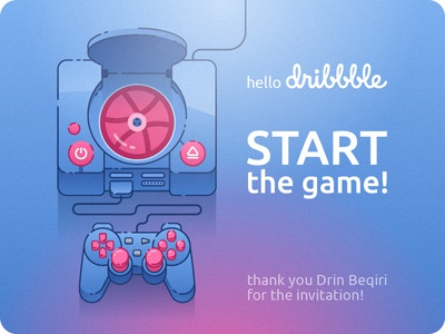 Hello Dribbble! sony game start illustration first shot hello dribbble debut