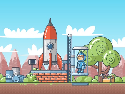 Before blast off detail outline flat illustration game character blast off rocket