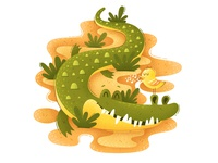 Mr. Crocodile crocodile funny fun texture noise monster grain flat character illustration