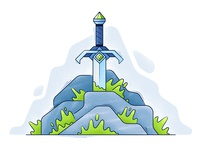 Sword in the Stone weapon sword line texture outline noise grain flat vector illustration