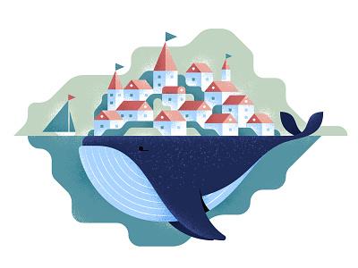 Whale fairy fairytale design texture noise grain flat vector illustration whale
