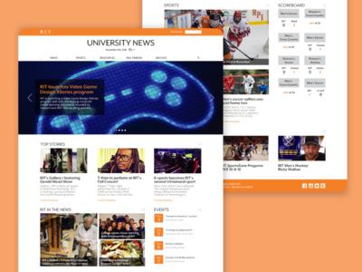 RIT University News Redesign news website website design front page web design scoreboard news orange website ux ui design web