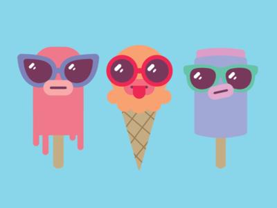 Icecream Boys pushpop popsicle sunglasses summer illustration icecream
