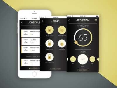 Nest App Redesign Additional Screens app design smart home gold black security ux ui app nest