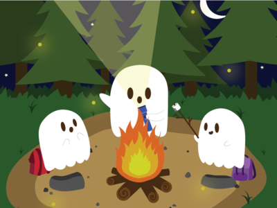 Ghost Stories stars camping spooky night campfire stories ghost halloween