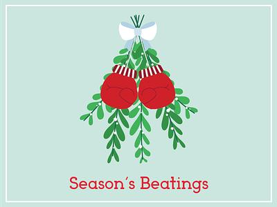 Mistlefoe christmas card season greeting boxing glove holiday fighting pun mistletoe christmas
