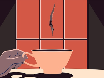 A Real World? high-diving dive tea cup surrealist surrealism motion graphic illustrator illustration