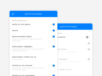 Daily UI :: 007 youtube clean 007 dailyui blue grey light white notifications settings