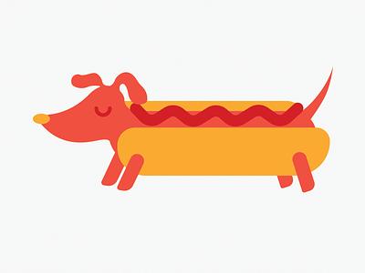 It's A Weiner Weiner Dog! ketchup hot dog puppy illustration dog weiner