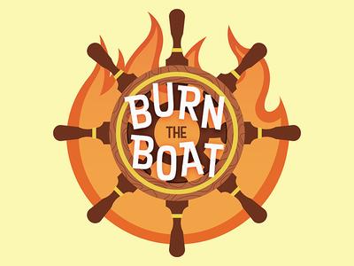 Burn The Boat flame fire steering wheel ship boat sticker