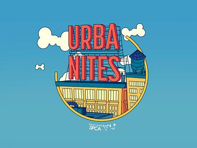 Urbanites T-Shirt Design spca t-shirt design skyscraper city clouds bones dogs