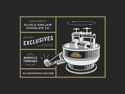Factory Exclusives olive and sinclair two color limited edition branding chocolate illustration letterpress