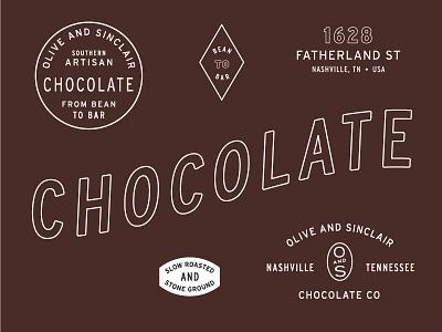 Chocolate Co nashville artisan interstate experiment stamp seal badge typography logo branding