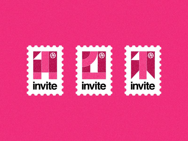 3 INVITES! postage stamp stamp simple helvetica texture dribbble invitation tickets dribbble invite invites giveaway invites dribbble