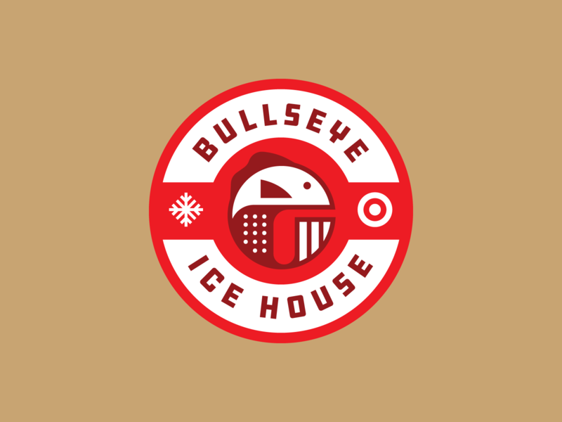 Bullseye Icehouse minneapolis minnesota type lockup circle simple fishing rod fishing ice house geometric sign badge logo target bullseye