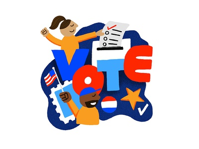 LET'S VOTE! voter democracy america diversity ballot check mark star button stamp flag people illustration election day election vote
