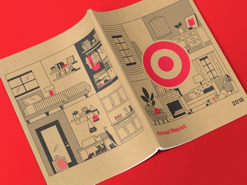 2019 Target Annual Report illustration backpack plants lamp bed house bedroom living room vector illustrations bullseye target annual report
