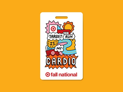 Fall National Buddy Badge expressive fall national target run cardio journey illustration typography bullseye sun store car street target