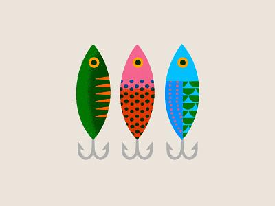 Lures & Bait dots river illustration pattern hook fishing lures bait