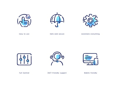 Digital Business Icons easy to use safe automate 247 stroke business icon