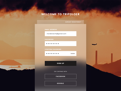 Sign Up page-D2 traval uiux signup 100dailyui