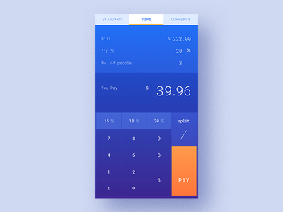 Tips Split Calculator-D4 split tips mobil calculator currency uiux www.dailyui.co dailyui