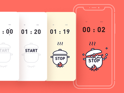 Cooking Countdown Timer-D14 cooking progress illustration app uiux www.dailyui.co dailyui