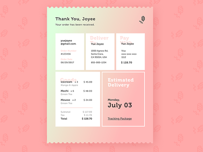 Email Receipt - D17 infopanel orderreceipt color dailyui ui icon placeorder checkout icecream www.dailyui.co receipt email