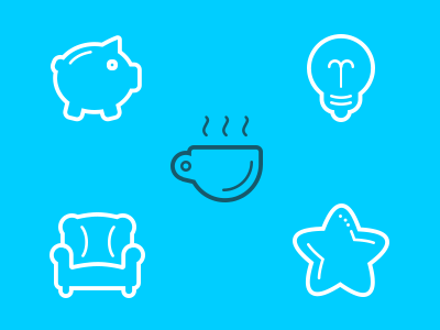 Icons icon flat outline lightbulb pig cup chiar star web set app icons