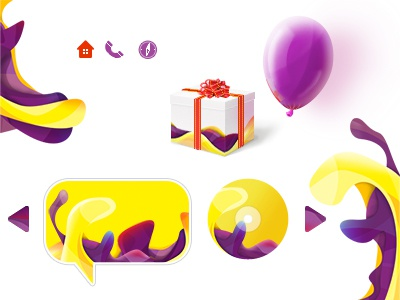 Icons and graphics for website waves yellow icons icon cd ballon gift bubble splash arrow