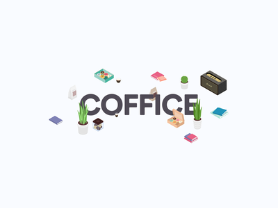 Coffice office coffee isometric illustration character design character vector illustration
