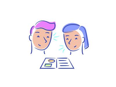 Interpersonal spot illustration interpersonal learning ui startup branding vector illustration