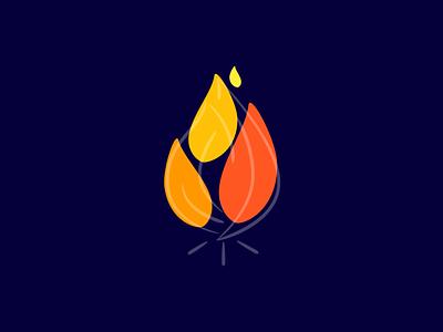 Fire flame elements fire ui startup branding flat vector illustration