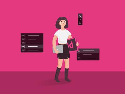 Adobe InDesign startup branding ui adobe indesign adobe brand illustration character design character vector illustration
