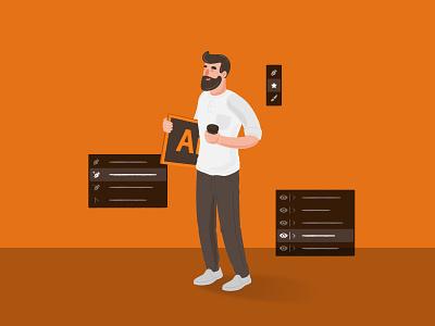 Adobe Illustrator ui adobe illustrator adobe branding startup branding character design character vector illustration