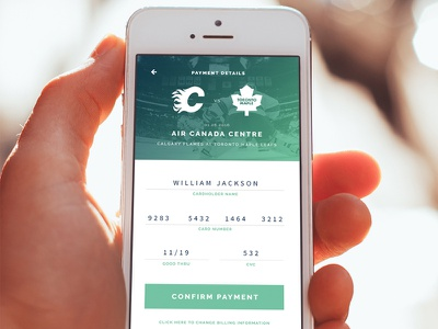 Mobile Ticket Payment nhl creditcard iphone app checkout clean payment sports ui phone mobile ticket