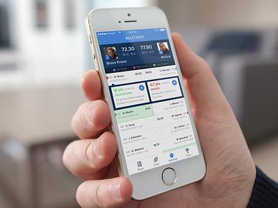 NFL Fantasy App Matchup Screen app design iphone ui design flat design design nfl.com fantasy app ios app nfl