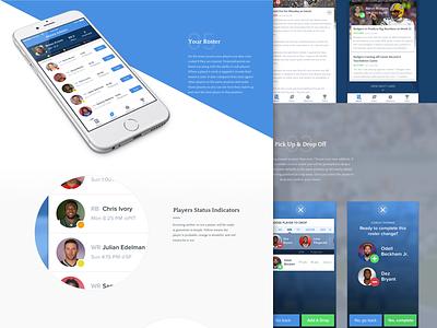 NFL Fantasy App Case Study interface design ux design ui design ux ui app design ios football nfl case study app blue