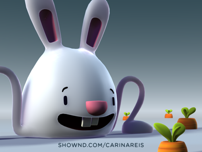 Cute bunny with it's big carrot carrot bunny 3d render white