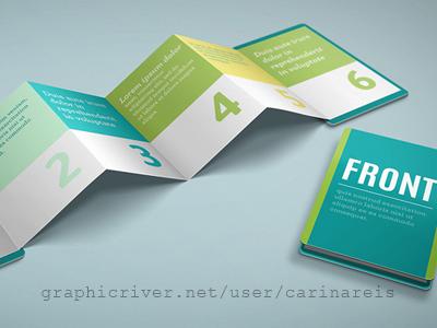 Z-Card Mock-up voucher design brochure 6 panels realistic mockup card z card z-card