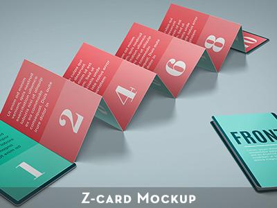 Z-Card  10 panels Mock-up smart object c-fold presentation fold portfolio business perspective realistic business card design mock-up mockup